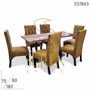 SS1863 Suren Space Canvas Upholstered High Back Chairs & Cast Iron Set