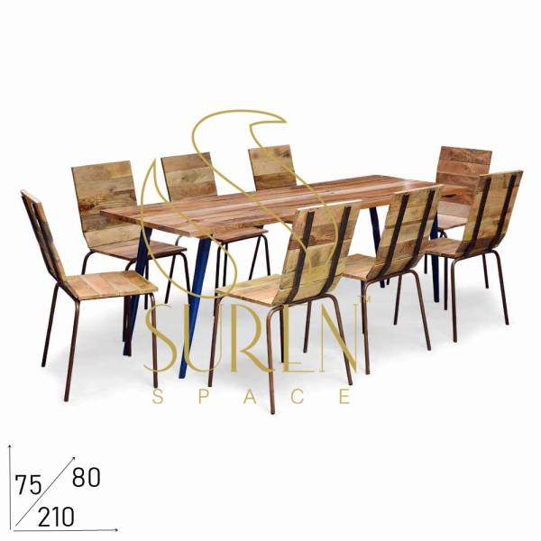 SS1864 Suren Space Compact Metal Solid Wood Indian Crafted Dining Set