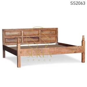 SS2063 Suren Space Solid Acacia Wood Natural Finish Carved Tent Camp Room Bed Design