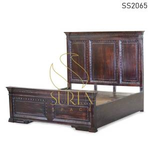 SS2065 Suren Space Maharaja Inspire Carved High Head Rest Design Indian Hotel Resort Bed Design