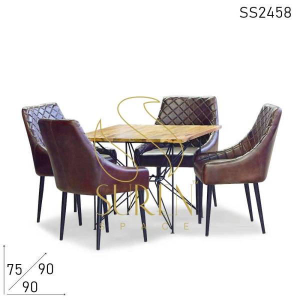 SS2458 Suren Space Pure Leather Accent Chair Fine Dine Restaurant Table Set