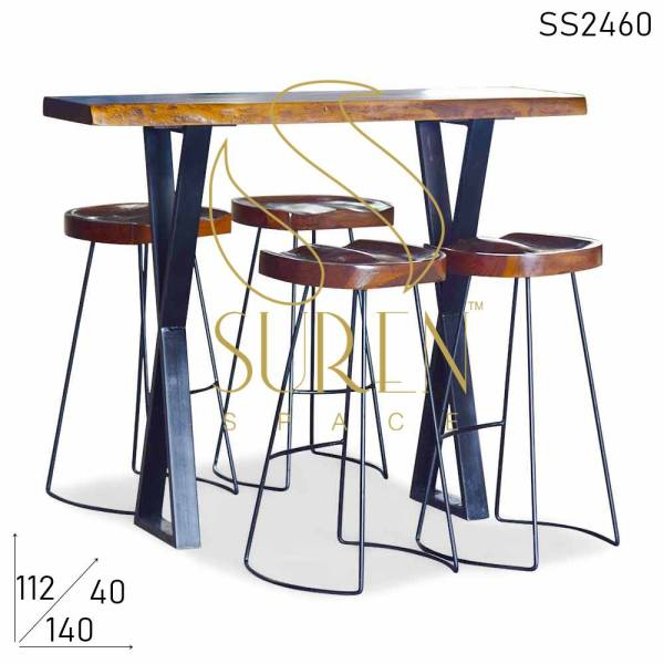 SS2460 Suren Space Live Edge Brewery Pub Table with Attractive Bar Stool
