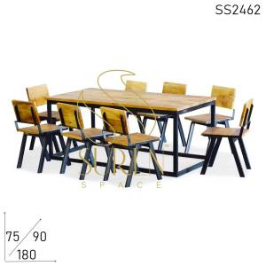 SS2462 Suren Space Solid Community Table Chair Set in Solid Wood & Metal