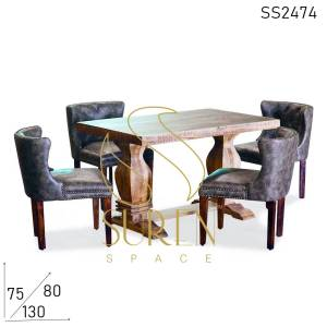 SS2474 Suren Space Fine Dine Upholstered Four Seater Restaurant Dining Set