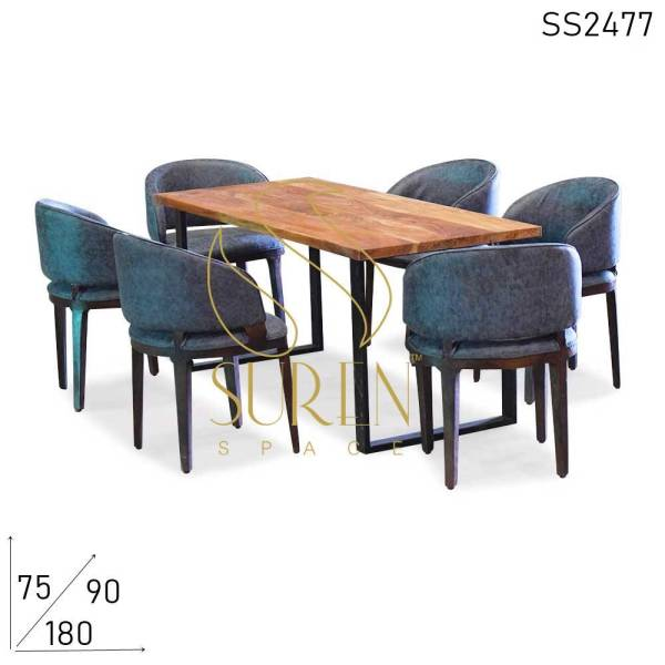 SS2477-1 Suren Space Fine Dine Leatherite Live Acacia Wood Long Dining Table Chairs Set