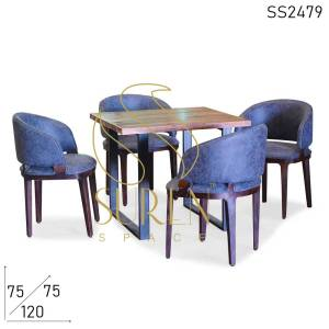 SS2479 Suren Space Four Seater Modern Live Edge Metal Combo Dining Restaurant Set