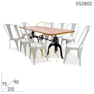 SS2802 Suren Space Industrial Eight Seater Adjustable Dining Table Food Court Canteen Dining Set