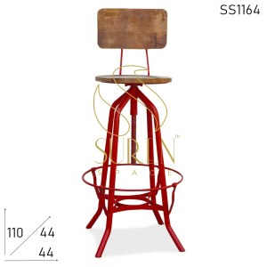 SS1164 Suren Space Metal Red Adjustable Solid Wood Bar Pub Chair