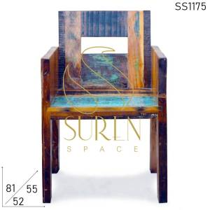 SS1175 Suren Space Indian Recuperado Madeira Solid Wood Restaurante Cadeira