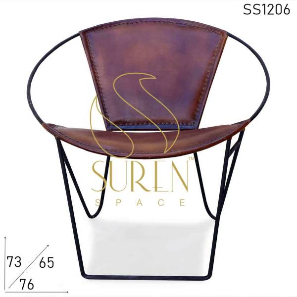 SS1206 Suren Space Leather Ronde Stapelbare Tub Rest Chair