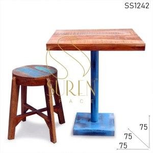 SS1242 Suren Space Aara Finish Acacia Wood Cafe Bistro Table Stool Set