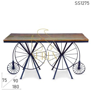 SS1275 Suren Space Dual Wheel Reclaimed Top Industrial Restaurant Table