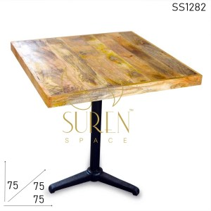 SS1282 Suren Space Square Solid Wood Cast Iron Base Bistro Table