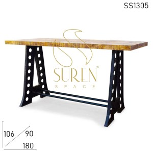SS1305-1 Suren Space Cast Iron Heavy Base Mango Wood Bar Pub Table