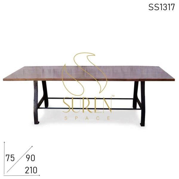 SS1317 Suren Space Cast Iron Foldable Mango Wood Industrial Table