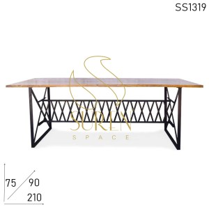 SS1319 Suren Space Cross Metal Foldable Restaurant Dining Cum Community Table Design