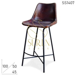 SS1407 Suren Space Cross Leg Metal Base with Pure Leather Seating Bar Chair