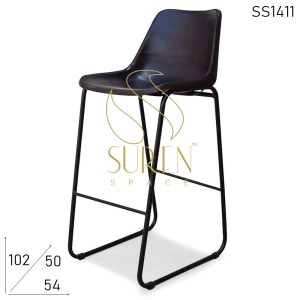 SS1411 Metal Leather Bar Pub Brewery Chair Design
