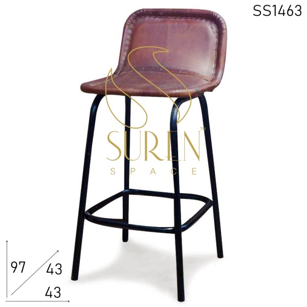 SS1463 Suren Space Pure Leather Metal Frame Industrial Bar Chair