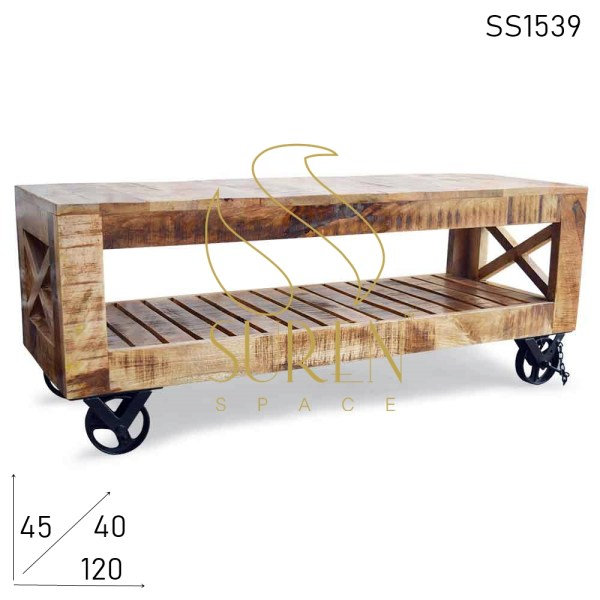 SS1539 Suren Space Cast Iron Wheel Mango Wood Industrial Hotel Room Center Table