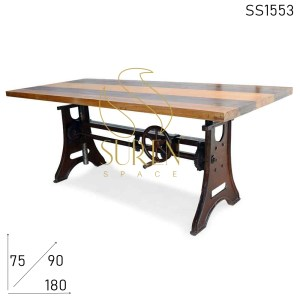 SS1553 Suren Space Cast Iron Heavy Metal Adjustable Multi uses Regular Table Cum Pub Table