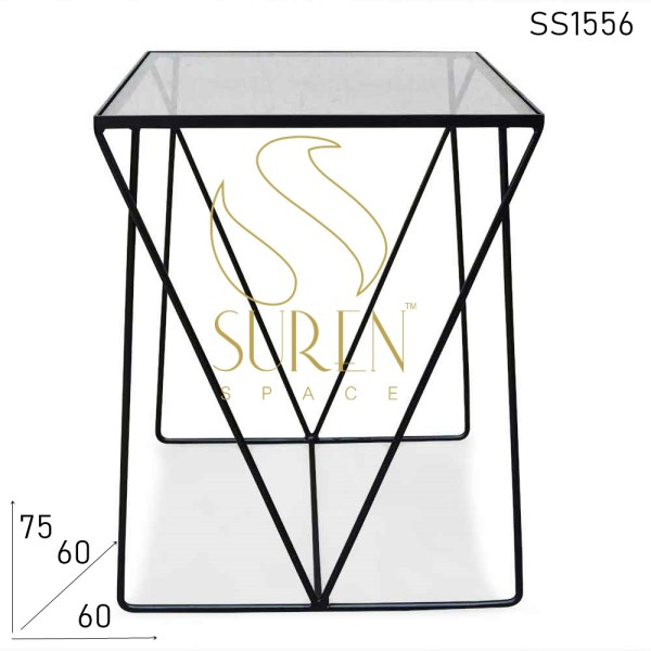 SS1556 Suren Space Metal Glass Minimalist Regular Industrial Table