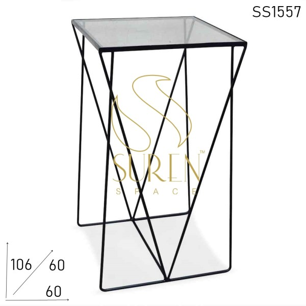 SS1557 Suren Space Metal Glass Minimalist Bar Industrial Table