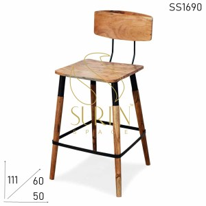 SS1690 Suren Space Solid Acacia Wood Metal Add On Bar Pub Chair