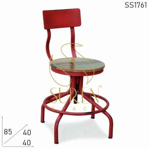 SS1761 Suren Space Red Distress Reclaimed Cafe Bistro Chaise
