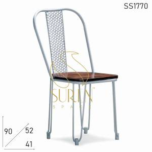 SS1770 Suren Space Metal Mesh Chair with Wooden Seat for Bistro Cafe