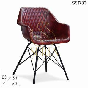 SS1783 Suren Space ZigZag Pattern Leather Chair with Iron Structure