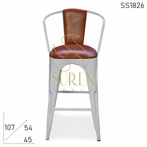 SS1826 Suren Space Leather Sedile Schienale White Metal Brewery Brew Pub Bar Chair