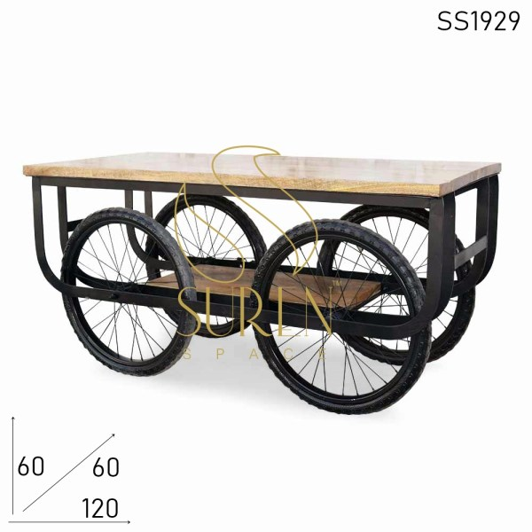 SS1929 Suren Space Street Style Wheel Base Solid Wood Center Table