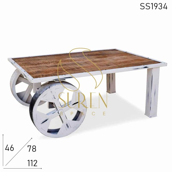 SS1934 Suren Space Distress Round Wheel Mango Industrial Center Table