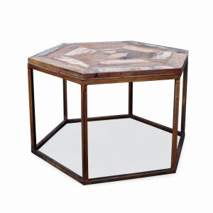 SS1964 Suren Space Rustic Metal Finish Reclaimed Wood Center Table