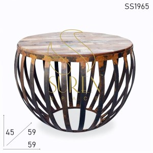 SS1965 Suren Space Rustic Metal Finish Commercial Round Shape Center Coffee Table
