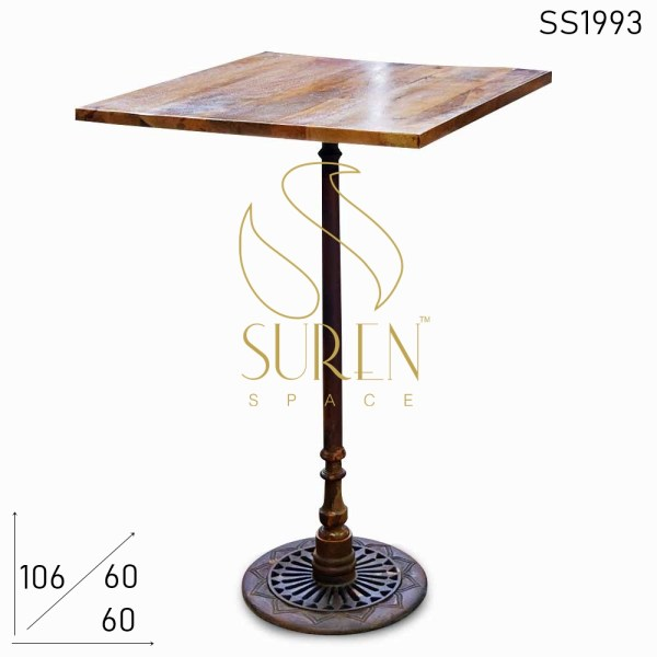 SS1993 Suren Space Casting Rustic Finish Folding Bar Table with Solid Wood Top