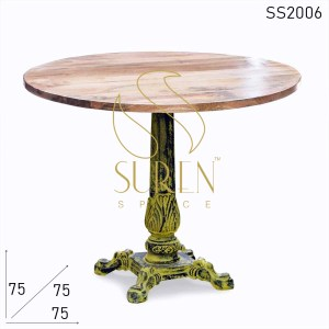 SS2006 Suren Space Yellow Distress Cast Iron Foldable Solid Wood Bistro Cafe Table