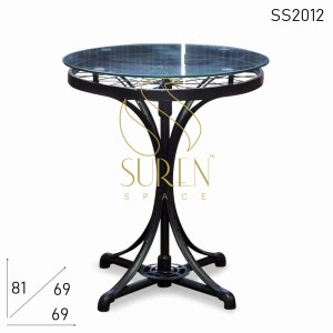 SS2012 Suren Space Recycled Cycle Tyre Wheel Base Glass Top Outdoor Unique Cafe Table
