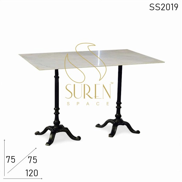 SS2019 Suren Space Cast Iron Dual Base Marble Top Folding Outdoor Table