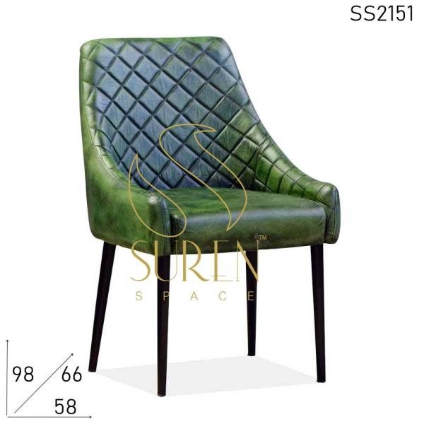 SS2151 Suren Space Green Distress Genuine Leather Hotel Accent Chair