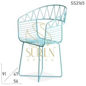 SS2165 Suren Space Bent Metal Sky Blue Outdoor Bistro Chair