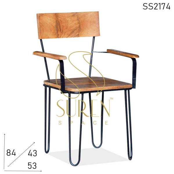 SS2174 Suren Space Hair Pin Design Industrial Semi Outdoor Iron Wood Chair