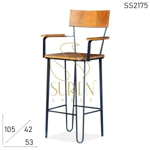 SS2175 Hair Pin Design Industrial Metal Solid Wood Bar Pub Chair