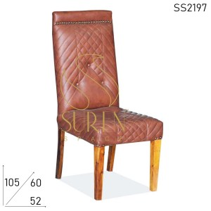 SS2197 Suren Space Tufted Back Leatherette Wooden Fine Dine Chair