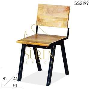 Chaise SS2199 Suren Space Solid Mango Wood Heavy Metal Cafe Bistro