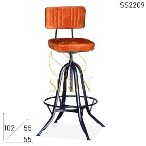 SS2209 Suren Space Upholstered Fabric Seat & Back Metal Frame Bar Pub Chair