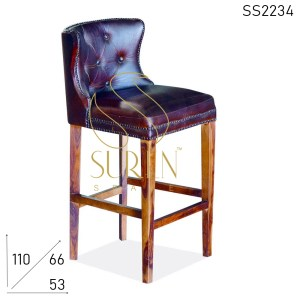 SS2234 Suren Space Tufted Leather Wooden Structure Upholstered Bar Chair
