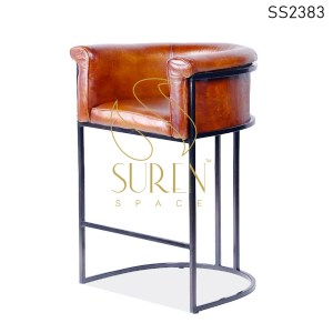 SS2383 Suren Space Pure Leather Metal Frame Bar Pub Chair with Art Rest