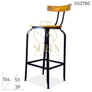 SS2780 Suren Space Metal Design Industrial Solid Wood Bar Pub Chair